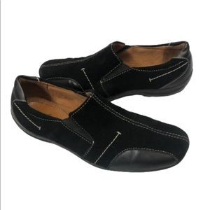 Natural Soul Black Leather suede slip on shoes